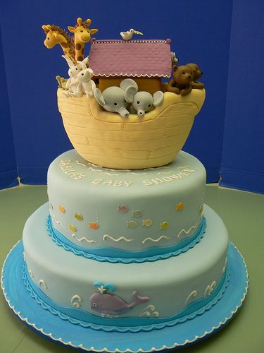 Noah's Ark Baby Shower Cake - love the fish and whales on the lower tiers.
