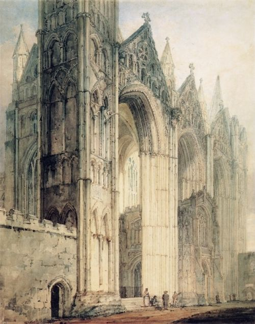 petitpoulailler: iamnot-thereforeithink: ca 1796 Thomas Girtin (English 1775-1802) ~ The West Front of Peterborough Cathedral