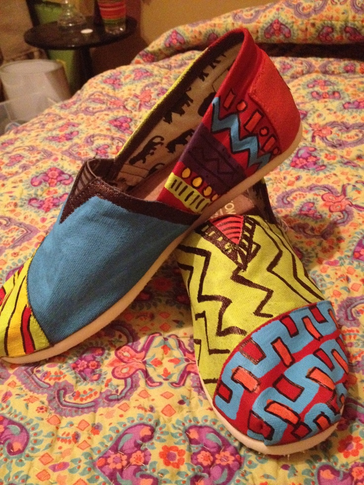 Tribal patterned, hand painted, canvas TOMS shoes for men or women. Price of shoes included in total.