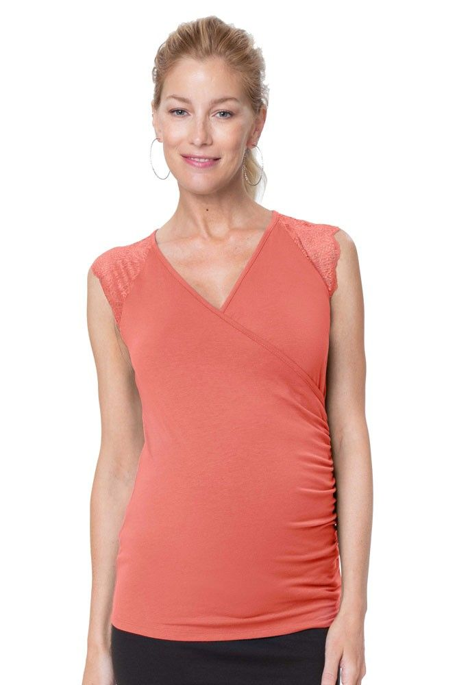 12f7af2f47fbb Chelsea Lace Sleeve Maternity & Nursing Top (Coral) in 2019 | New ...