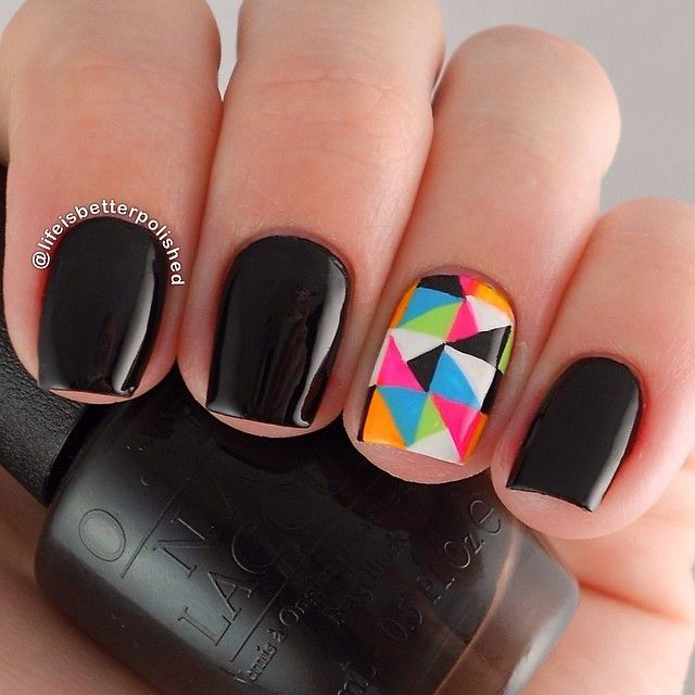 Black nails. Geometric Nail art. Nail design. OPI Polish. Polishes. @lifeisbetterpolished
