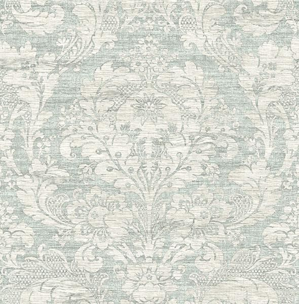 Loren Blue Fabric Damask - Wallpaper