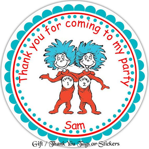 Superb Dr Seuss Thing 1 And Thing 2   Personalized Stickers, Party Favor Tags,  Thank