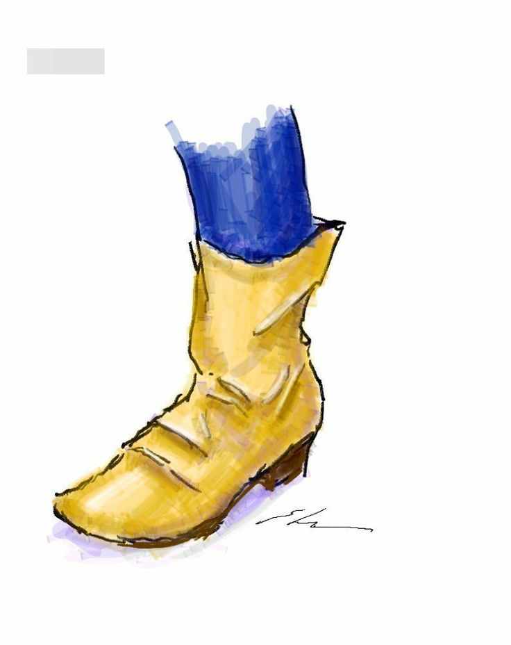 It is a sketch of brown boots.  I drew while commuting on a train with the GALAXY Note.