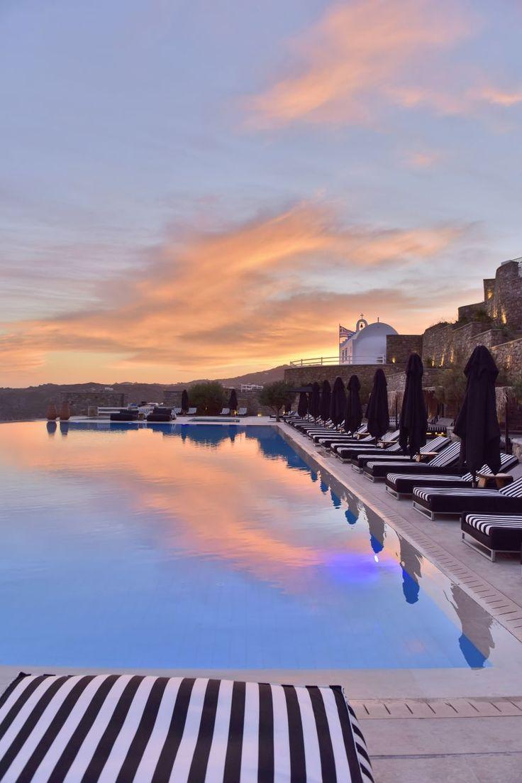 Abundant comforts of a world class luxury resort! #Discover #MyconianVillaCollection #Sunset #Pool