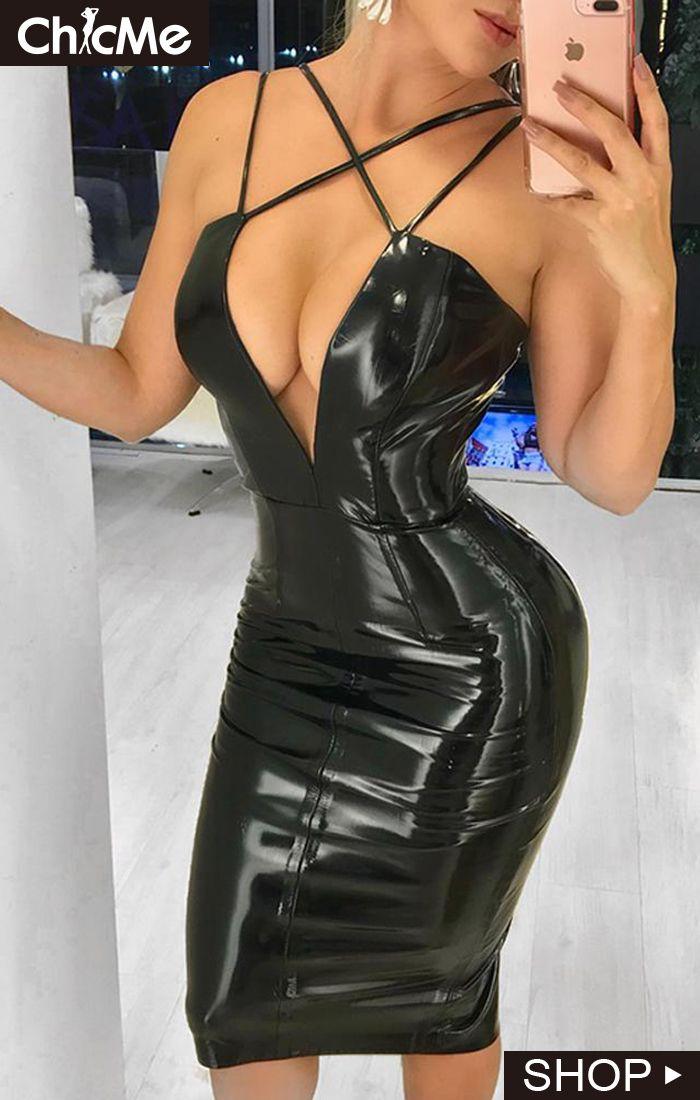 Criss Cross Front Plunge Pu Bodycon Dress Bodycon Dress Leather Dress Women Leather Outfits Women