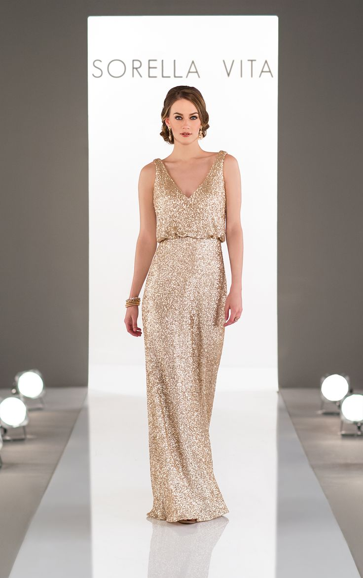 (I3226)Another striking addition to the Modern Metallic collection, this matte-sequin bridesmaid dress will take the glamour of your wedding day to another level!