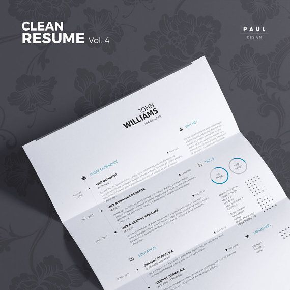 Clean Resume Vol. 4  Word and Indesign by #TheResumeCreator on Etsy  #Lebenslauf #Cv #CurriculumVitae #Resume