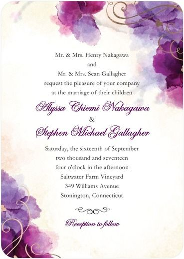 Soft Bougainvillea - Signature Foil Wedding Invitations - Coloring Cricket - Majestic - Purple : Front