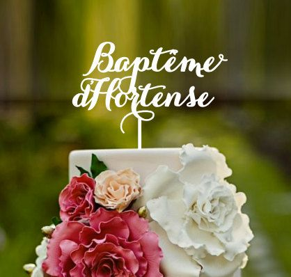 Christening cake topper french baptism cross cake topper by CommunicakeIt