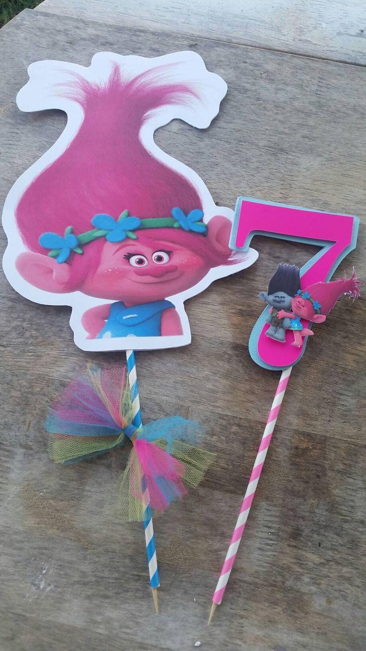 Poppy centerpiece trolls by silviaspartydecor