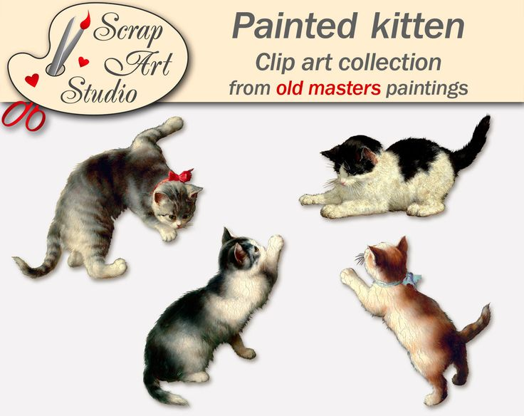 Vintage Painted kitten from old masters paintings. Silhouette. Png, jpeg files. Printable. Instant download. Scrapbooking, collage, DIY, art by ScrapArtStudioEU on Etsy