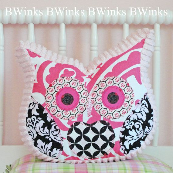 Owl Pillow Stuffed Owl Bedroom Decor Pillow Black by BWinks