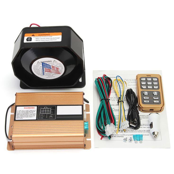 400W 8 Sound Loud Warning Alarm Police Siren Horn Speaker MIC System
