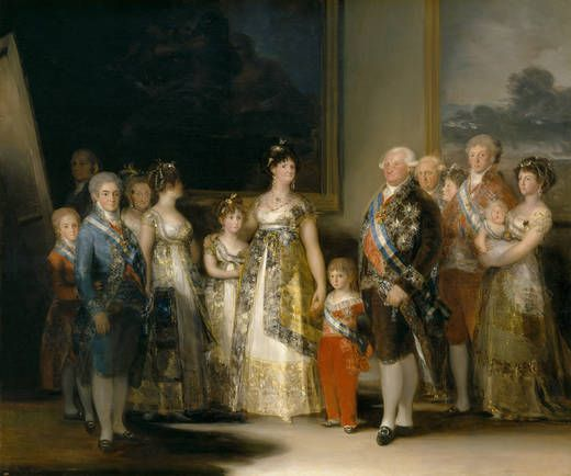 This portrait of the family of King Carlos IV (1748-1819) was painted in Aranjuez and Madrid in the spring and summer of 1800, shortly after Goya was named First Chamber Painter. It clearly show's the artist's mastery at individualizing characters. Of special interest here is the careful rendering of the clothing, which was the latest fashion at that time, the jewels, and the honors, (Order of Carlos III, Order of María Luisa, Golden Fleece, crosses of the Immaculate Conception and Saint…