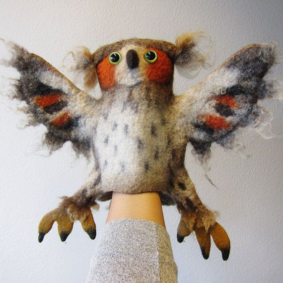 the great horned owl hand puppet, wet felted. MADE TO ORDER