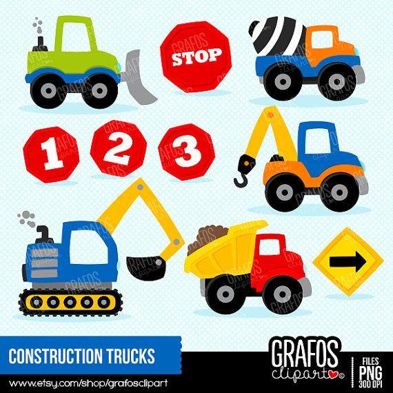CONSTRUCTION TRUCKS - Digital Clipart Set, Construction Clipart ...