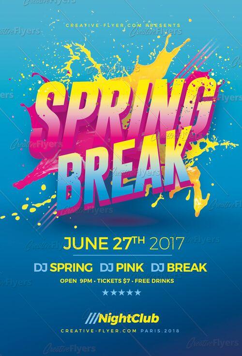 Spring Break Psd Flyer Template Flyer Design Inspirations