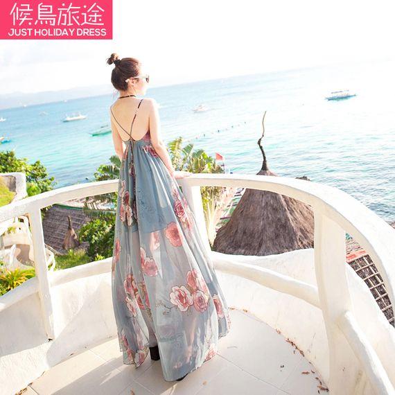 새로운 2017 여름 해변 드레스 여성 쉬폰 드레스 보헤미안 해변 리조트 상당히 얇은 드레스 요정의 노력