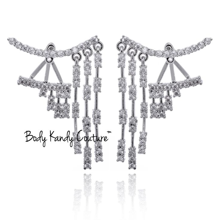 Diamond Linear Ear Jacket Earrings