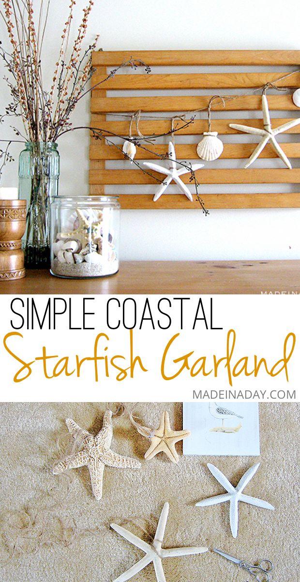 Starfish Garland Vignette Coastal Bedroom Decorating Beach Diy
