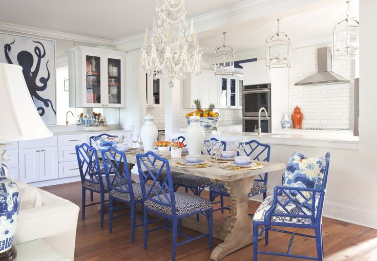 Parker Kennedy Living - sea island Georgia interiors project. Blue bamboo Chippendale chairs & Currey & Company seashell chandelier