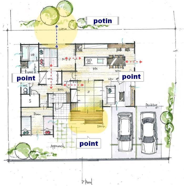 小さな縁側がある平屋 間取り図 屋根のデザイン 家の間取り図