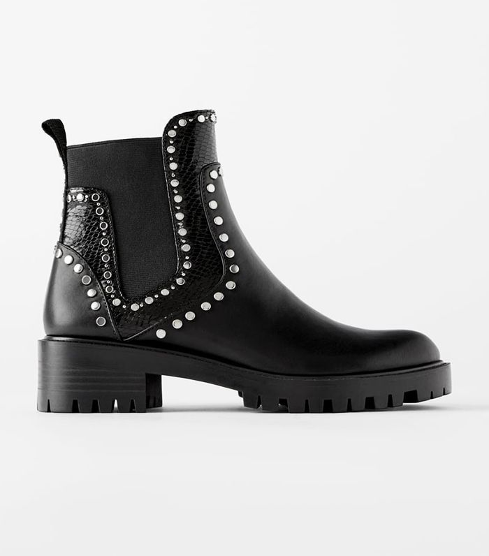Zara Studded Flat Ankle Boots With