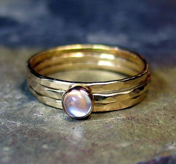 Hammered 14kt Solid Gold Stack Rings Pinky rings with Blue Moonstone - Once in a Blue Moon