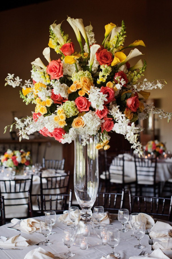 Coral and Yellow Wedding Centerpiece