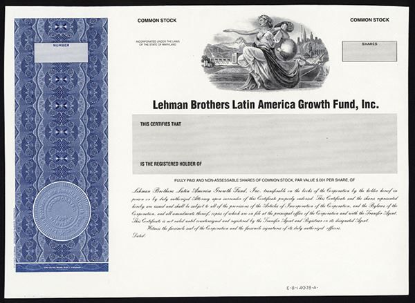 Lehman Brothers Latin American Growth Fund, Inc. ca.1960-1970 Specimen Proof - Archives International Auctions