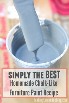 If you've been searching for a great chalk paint recipe, LOOK NO FURTHER! This 3-ingredient recipe works wonders as a no-prep furniture paint so you can make old furniture look amazing again-- in YOUR style and favorite colors!