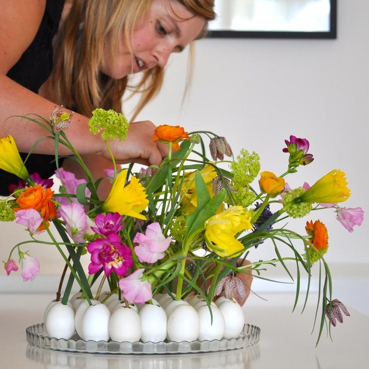 Flowers by Maja Maagaard creates Lisbeth Dahl Easter bouquet by Lisbeth Dahl Copenhagen Spring/Summer 13. #LisbethDahlCph #Flowers #Beautiful #Decoration
