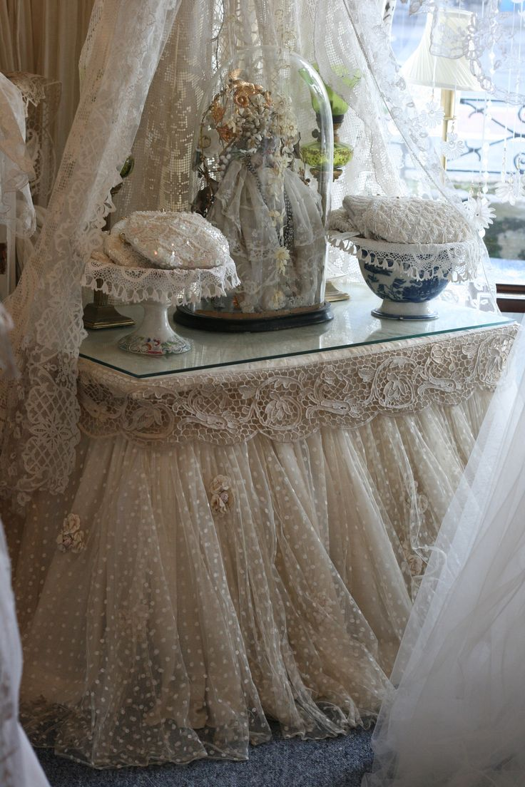 ❤️I love poka dot tulle.❤️ Use lace from Etsy or lace from antiques shop that I already have to dress basic fabric for windows in BR. Sheelin Antique Lace Shop
