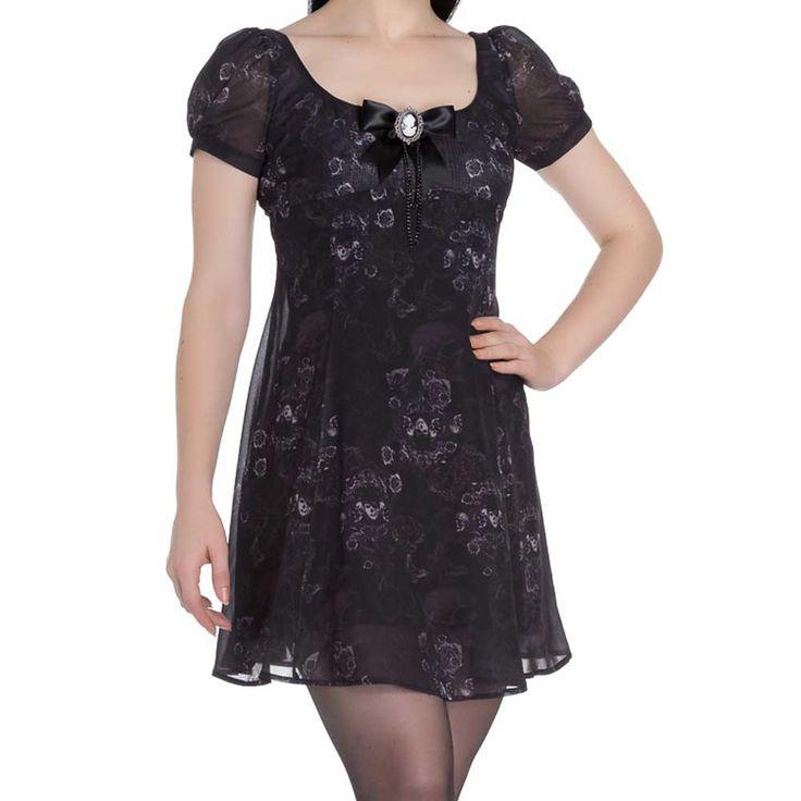 Scullion jurk met schedel en vlinder print zwart - Gothic