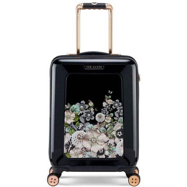 Women's Ted Baker London Small Gem Gardens Four-Wheel Suitcase (€375) ❤ liked on Polyvore featuring bags, luggage and black