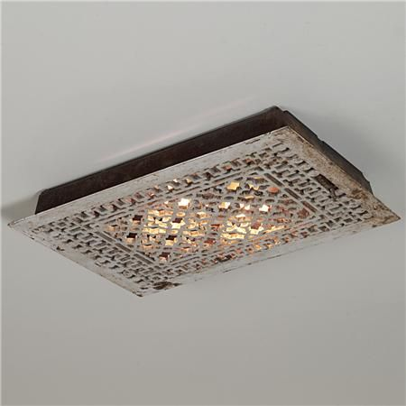 Vintage Iron Grate Flush Mount Ceiling Light. I love this.