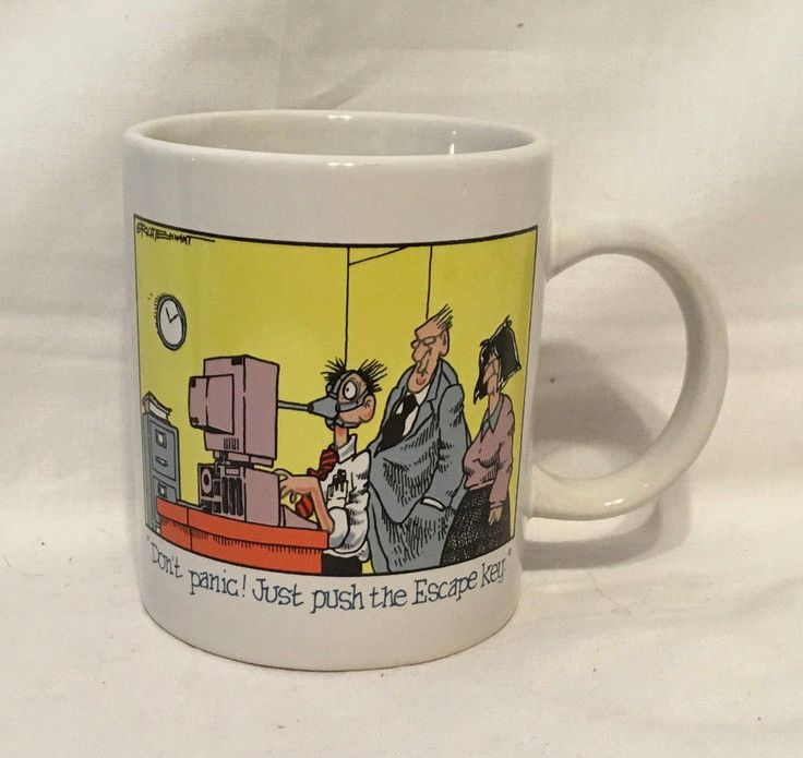 Vintage Computerworld Don't Panic Just Push The Escape Key Geek Coffee Mug #Computerworld