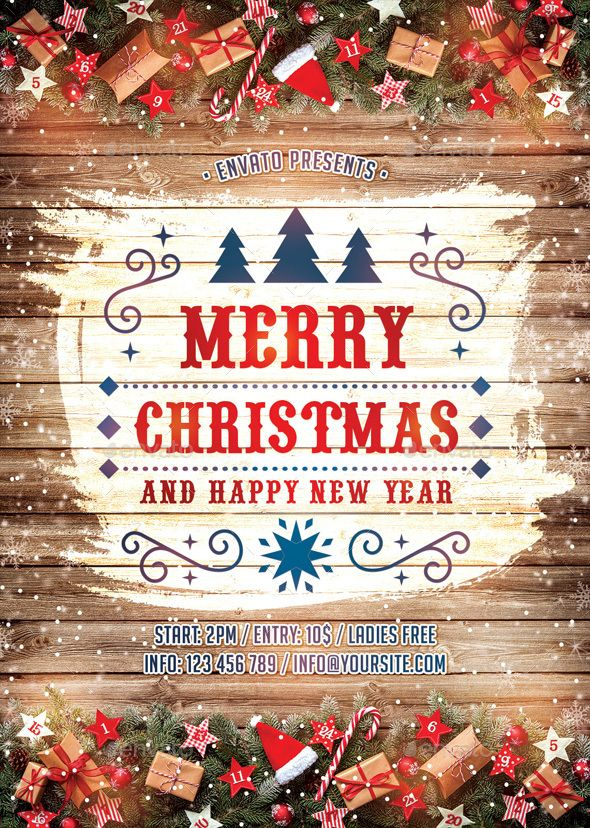 Merry Christmas  Happy New Year Flyer Template PSD #xmas