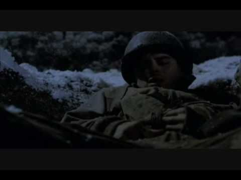 Medic Eugene Roe Prayer of St Francis Band of Brothers Bastogne; favorite moment. His voice is amazing.