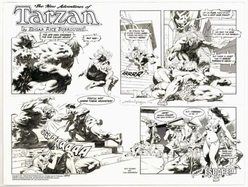 Four original Sunday pages by Tom Grindberg (script by Roy... Four original Sunday pages by Tom Grindberg (script by Roy Thomas) from The New Adventures of Tarzan 2014-16.