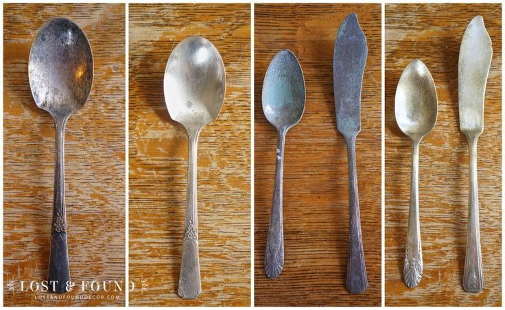 Salvaging Old Flatware–How To Remove Tarnish from Antique Silverplate | http://www.lostandfounddecor.com/hunts-finds/salvaging-old-flatware-remove-tarnish-antique-silverplate/