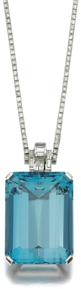 ~Art Deco aquamarine and diamond necklace, 1930's | The House of Beccaria#