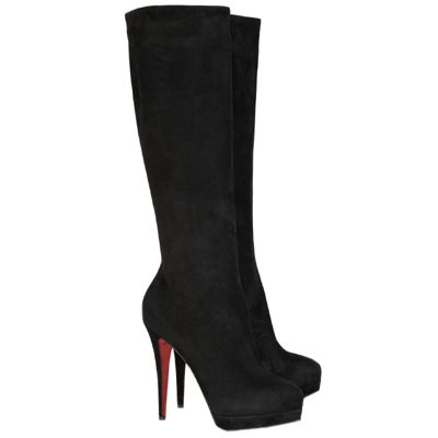 Christian Louboutin Boots Alti Botte 140 Suede Knee High Boots B