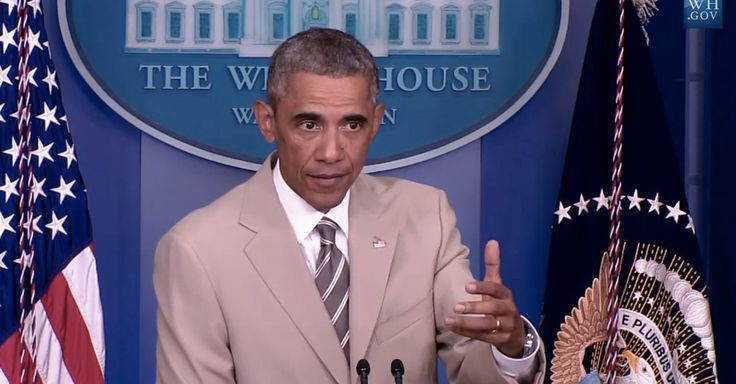President Obama wore a tan suit to a press conference on Thursday.