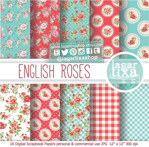 Shabby Chic Digital Paper English Roses Garden  Romantic mint Vintage Red Teal blue scrapbooking invitations blog background patterns