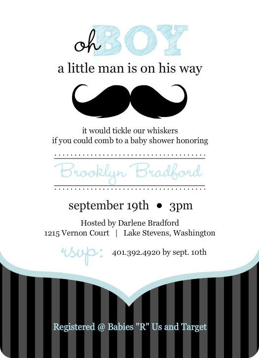 Blue And Black Moustache Boy Baby Shower Invites
