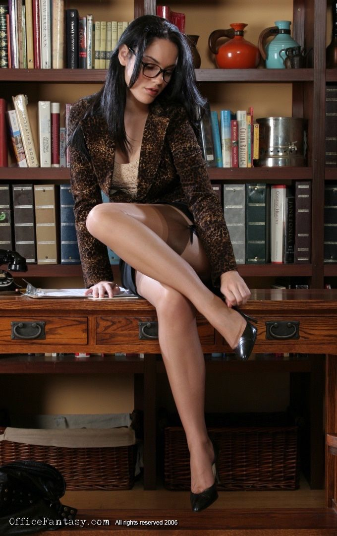 librarian in stockings