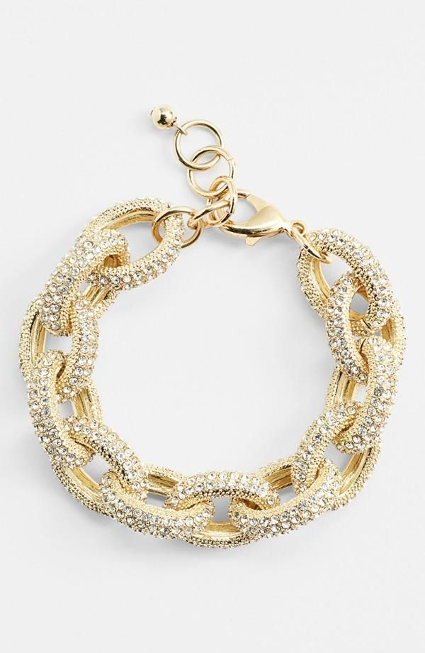 Pile on chain link bracelets for extra sparkle