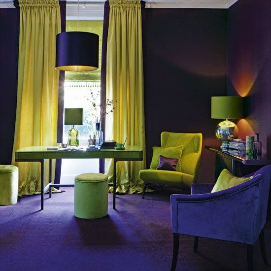 Purple and yellow living room | Living room colours | Feature walls | Housetohome
